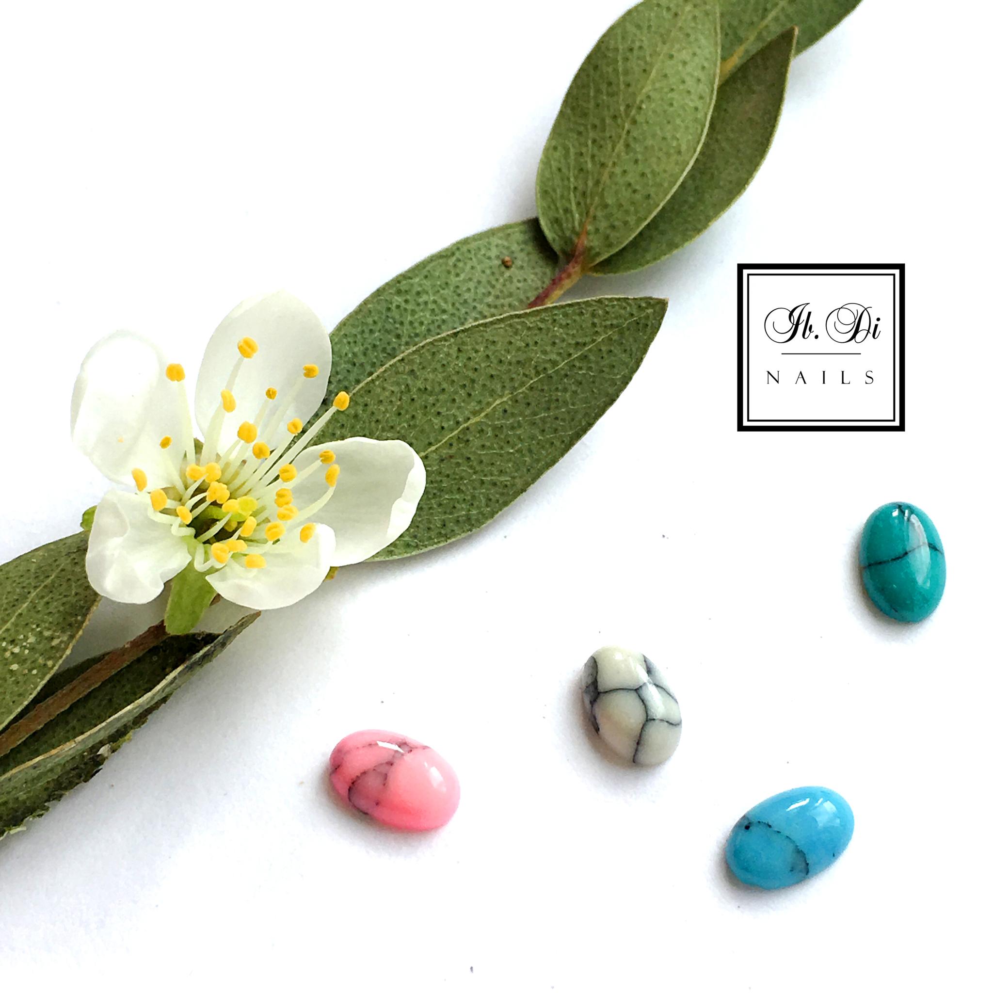Камни натуральные овал для дизайна, зеленый (1шт)