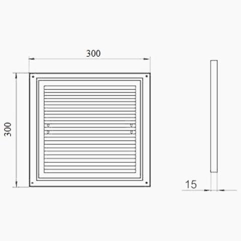 Решетка накладная 300х300 мм (ДВ 300 с)