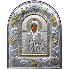 Матрона Московская. Икона в серебряном окладе на кожаном основании.