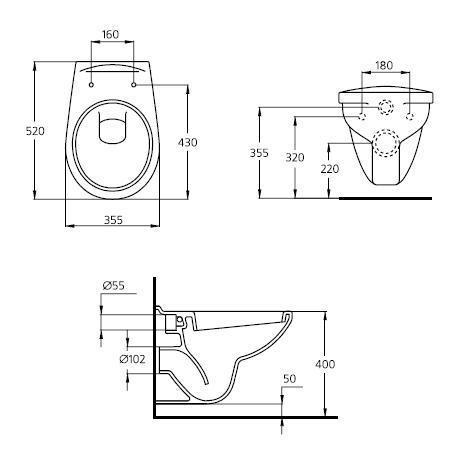 Комплект инсталляция с подвесным унитазом Ideal Standard  W770001