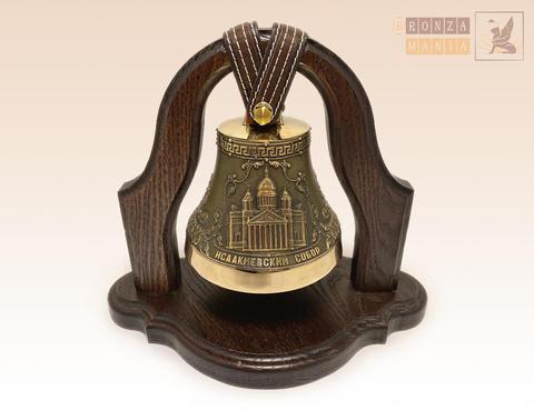 колокол Исаакиевский собор - Герб Санкт-Петербурга на подставке из дуба