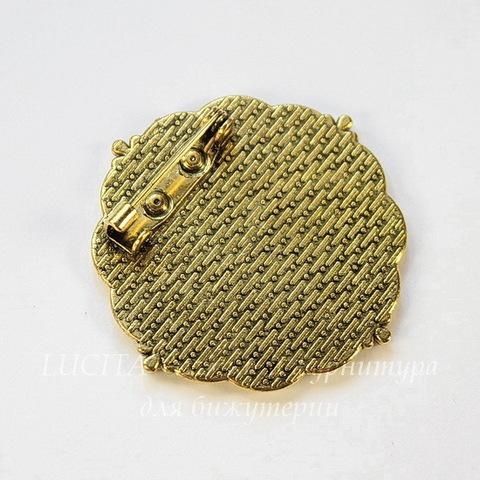 """Основа для броши с сеттингом для кабошона 25 мм """"Цветочки"""", 38 мм (цвет - античное золото)"""
