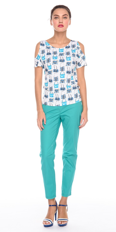 Брюки А456-782 - Зауженные хлопковые брюки. Будут идеально смотреться на любой фигуре.  Стильные и комфортные, они станут любимой моделью на лето.