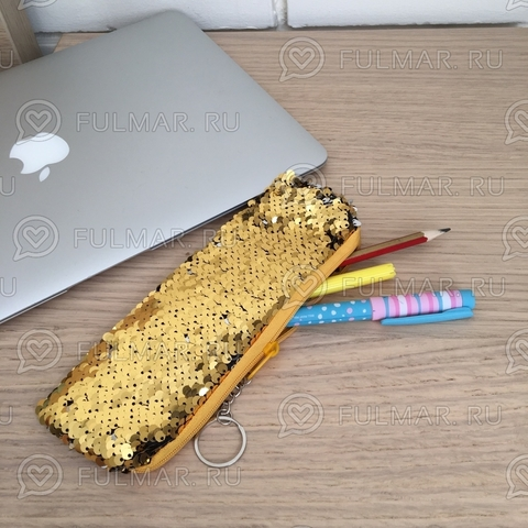 Пенал с пайетками мини для девочек меняет цвет Золотистый-Серебристый