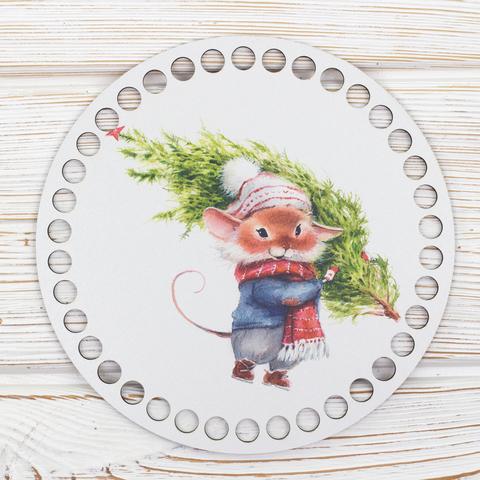 """Круглая заготовка с рисунком """"Новогодняя мышка"""" 15см из ХДФ"""