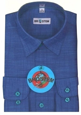 BROSTEM Рубашка для мальчика школьная 8052d синяя