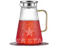 """Заварочный чайник-кувшин """"Атлант"""" 1,5 л с желтой ручкой, стеклянный"""