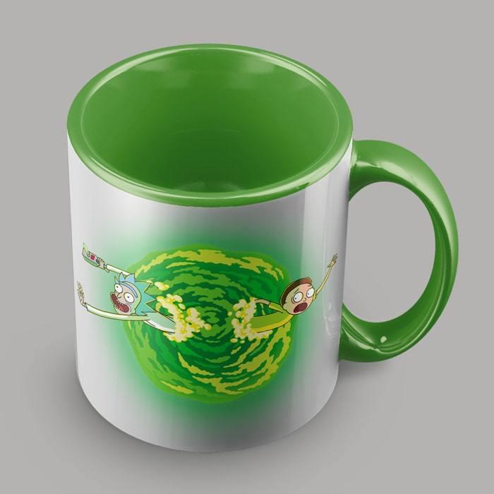 Кружка зелёная с Риком и Морти - 4 ракурс - kinoshop24.ru
