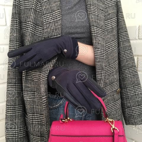 Женские перчатки Touch для сенсорных экранов на указательном пальце Синие Классика