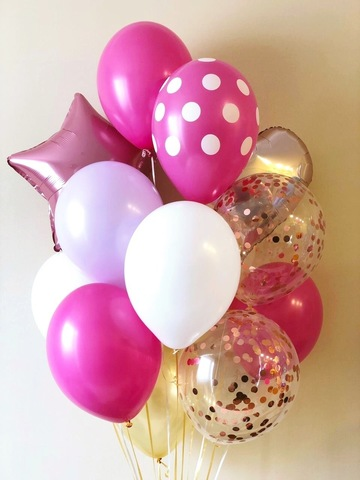 Set of Balloons Pink  and Polka Dots