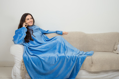 Плед с рукавами Sleepy Original небесно-голубой с поясом