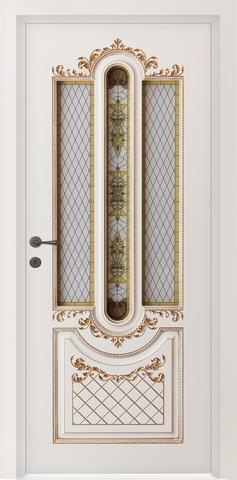 Дверь Prestigio Реале-2, стекло матовое фотопечать, цвет  слоновая кость/патина золото, остекленная