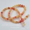 Бусина Агат цветочный матовый (тониров), шарик, цвет - бледный оранжевый, 6 мм, нить