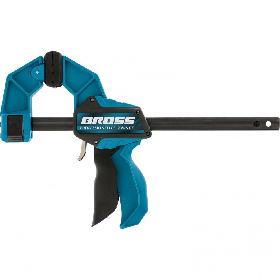 Струбцина реечная быстрозажимная пистолетного типа пошаговый механизм пластиковый корпус 900мм Gross 20708