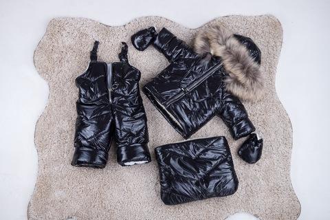 Зимний комбинезон тройка для новорожденных 0-2 года Look черный блеск