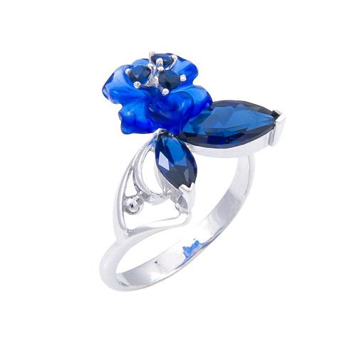Кольцо с цветами из кварца и сапфиром Арт. 1171сс