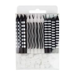 Свечи для торта Черные ассорти 24 шт
