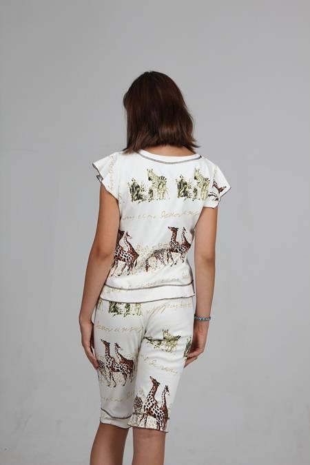 Выкройка женской пижамы с бриджами вид сзади