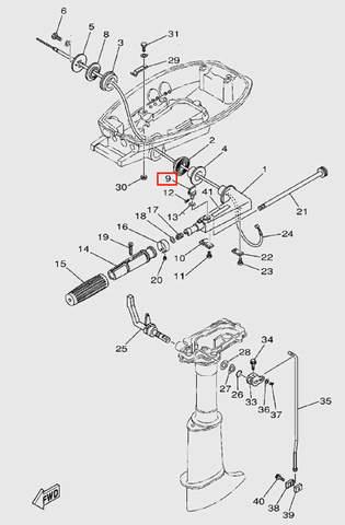 Болт регулировочный румпеля  для лодочного мотора  T5 Sea-PRO