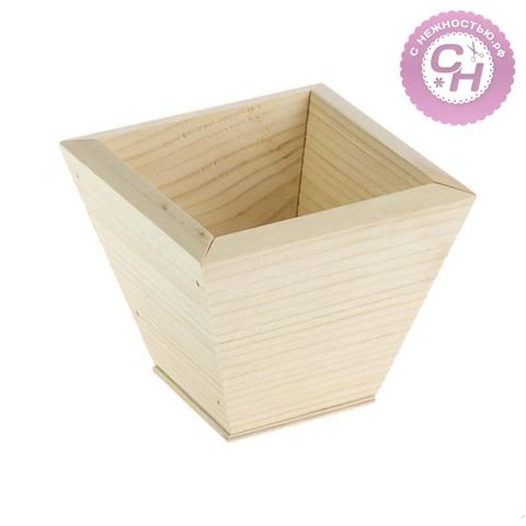 Кашпо деревянное, 11 х 11 х 9 см, 1 шт.