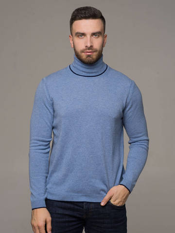 Denim color male jumper made of 100% cashmere - фото 3