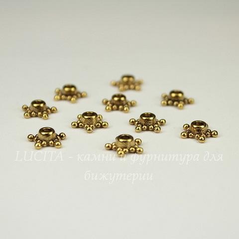 """Шапочка для бусины """"Звездочка""""(цвет - античное золото) 9х3 мм, 10 штук"""