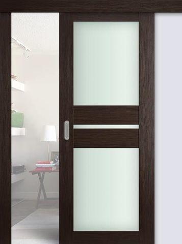 > Экошпон раздвижная Profil Doors №70X-Модерн, стекло матовое, цвет венге мелинга, остекленная