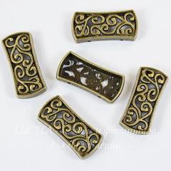 Разделитель на 2 нити 25х12 мм (цвет - античная бронза)