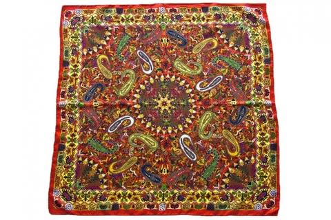 Итальянский платок из шелка бордово-желтый орнамент 5677