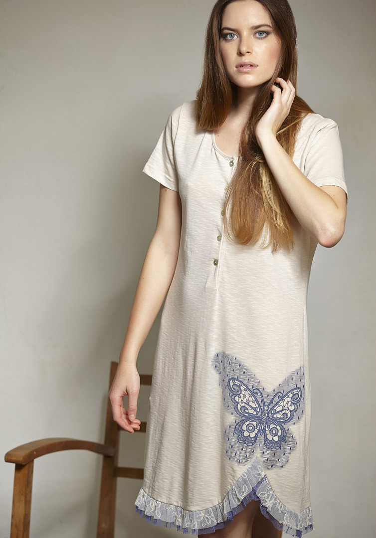 Ночная сорочка с бабочкой Rebecca & Bros (Домашние платья и ночные сорочки)