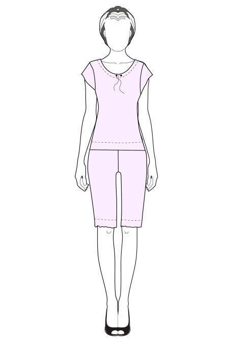 Выкройка женской пижамы с бриджами тех рисунок