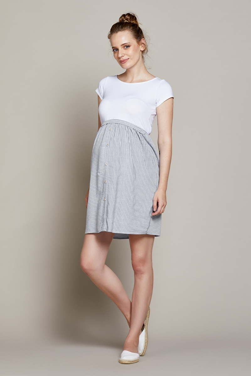 Платье для беременных и кормящих 10215 серо-белый