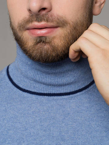 Denim color male jumper made of 100% cashmere - фото 4