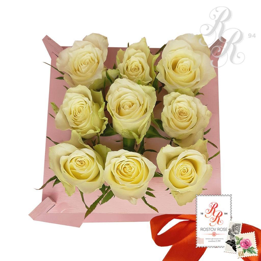 9 роз в пробирке - прямоугольный бокс