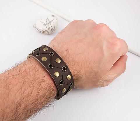BL450-2 Мужской браслет ручной работы из кожи на кнопках