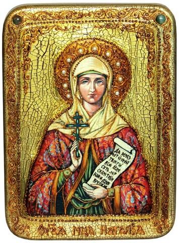 Инкрустированная икона Святая Мученица Наталия Никомидийская 29х21см на натуральном дереве в подарочной коробке
