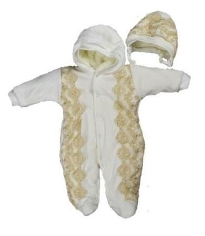 Велюровый комбинезон для новорожденного Beautiful капучино