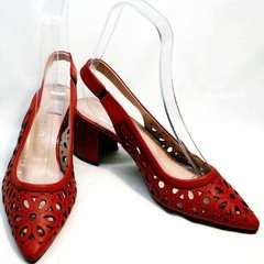 Красные босоножки с закрытым носком женские G.U.E.R.O G067-TN Red.