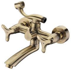 Смеситель для ванны и душа Kaiser (Кайзер) Trio 57122-1 Bronze двухвентильный с лейкой и шлангом, цвет - бронза
