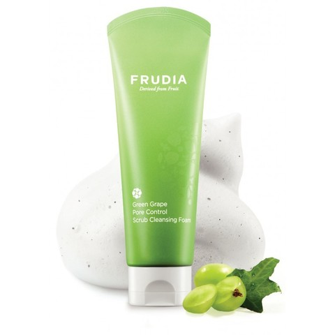 Frudia Green Grape Pore Control  Scrub Cleansing Foam Фрудиа Себорегулирующая скраб-пенка для умывания с зеленым виноградом 145 г