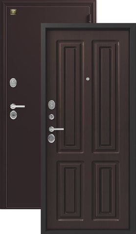 Сейф-дверь входная Зевс Z-6, 2 замка, 2 мм  металл, (шёлк бордо+венге шёлк)