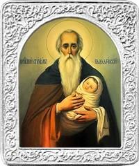 Святой Стилиан. Маленькая икона в серебряной раме.