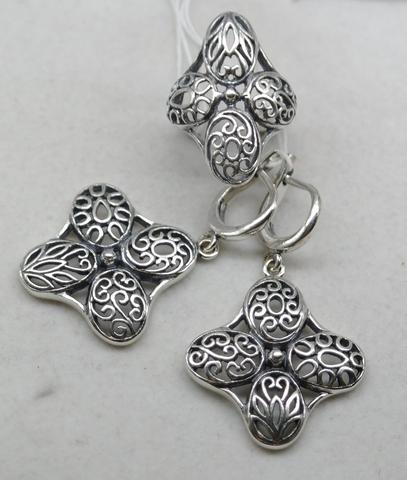 Узор (кольцо + серьги из серебра)