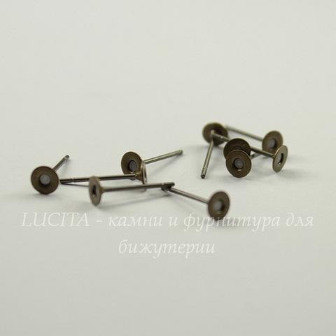 Пуссеты - гвоздики с круглой площадкой 4 мм (цвет - античная бронза)(без заглушек), 5 пар
