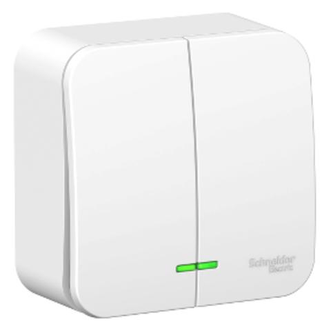 Выключатель двухклавишный накладной МОНТ.ПЛ.6А. 250B. Цвет Белый. Schneider Electric Blanca. BLNVA065021