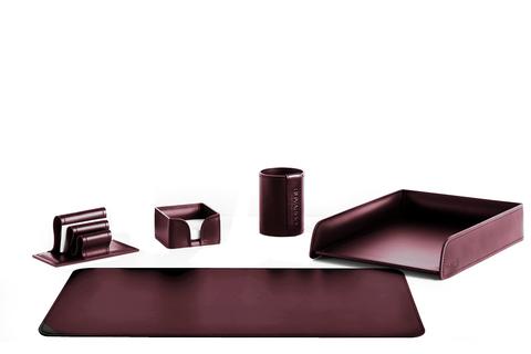 Набор настольный 5 предметов из кожи, цвет бордо