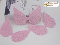 Декор глиттерный крылья большие светло-розовые