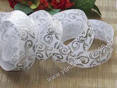 Лента репсовая Серебряный узор на белом 22 мм