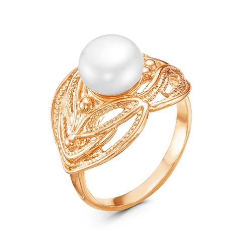 Кольцо с жемчугом и позолотой