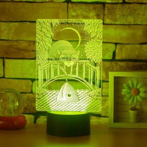 Лампа Кот в лунную ночь